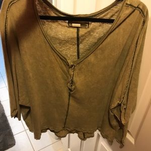 Free People Olive Green Button Henley